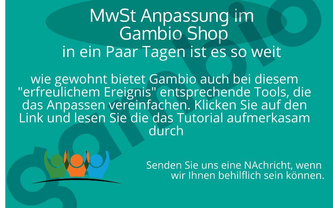 Gambio MwSt. Anpassung zum 1.7.2020